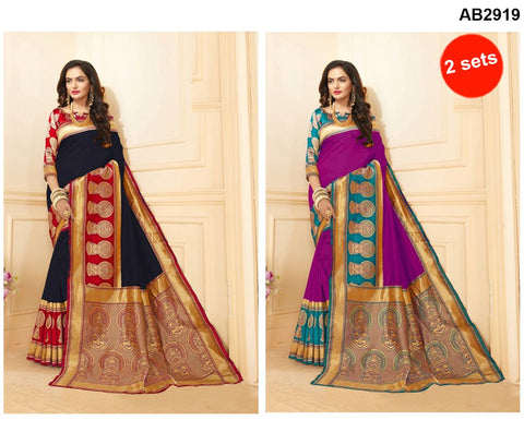COMBOS-Art Silk Sarees - SRP-15-AS-Black , SRP-15-AS-Rani