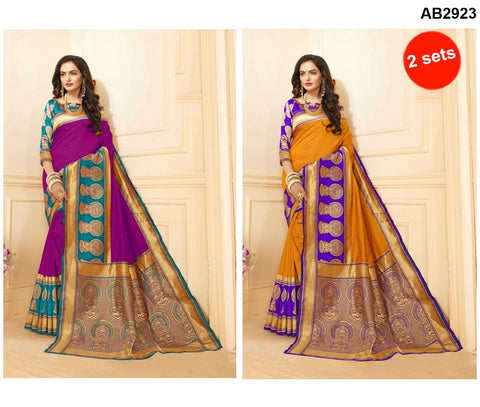 COMBOS-Art Silk Sarees - SRP-15-AS-Rani , SRP-15-AS-Yellow