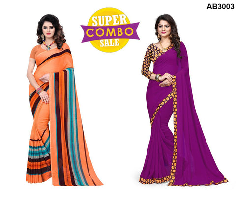 COMBOS-Georgette and Chiffon Sarees - Popins-5  ,Plain-02