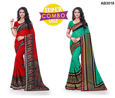 COMBOS-Georgette Sarees - ON-130 , ON-129