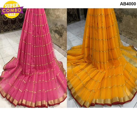 COMBOS-Cotton Saree - Doriya-11 , Doriya-15