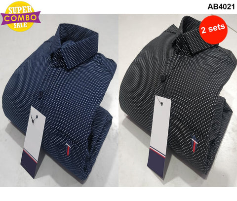Pack of 2 - Navy and Black Colors Pure Cotton Men's Combo Shirts - LPS-9, LPS-10