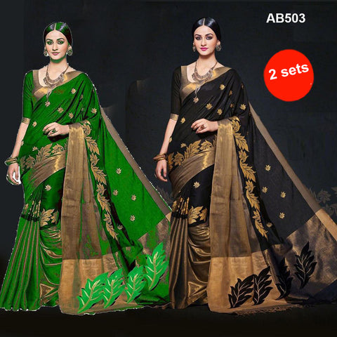 COMBOS-Women's Beautiful Cotton Silk Saree - SRP-AURA Green , SRP-AURA Black