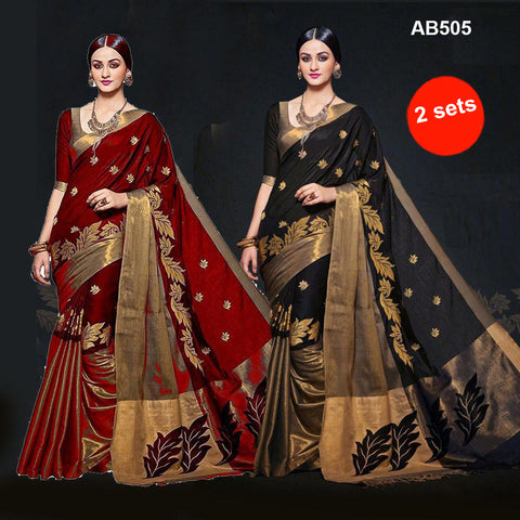 COMBOS-Women's Beautiful Cotton Silk Saree - SRP-AURA Red , SRP-AURA Black