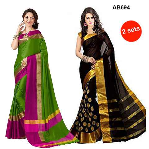 COMBOS-Cotton Silk and Bhagalpuri Cotton Silk Sarees-SRP-Himansi Pista , SRP-Black Goli