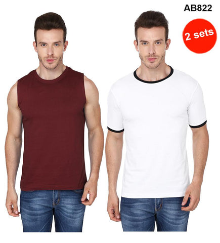 COMBOS-Brown& White Color Pure Cotton T-Shirts- 99-FKT-S10010-006 , 99-FKT-S10011-001