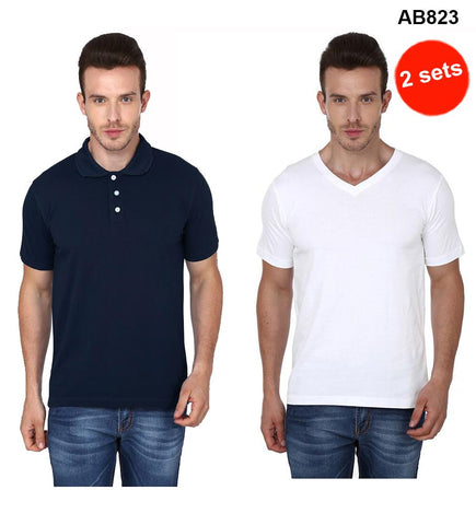 COMBOS-Navy Blue& White Color Pure Cotton T-Shirts- 99-FKT-S10003-009 , 99-FKT-S10004-003
