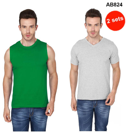 COMBOS-Green & Grey Color Pure Cotton T-Shirts- 99-FKT-S10010-004 , 99-FKT-S10004-008