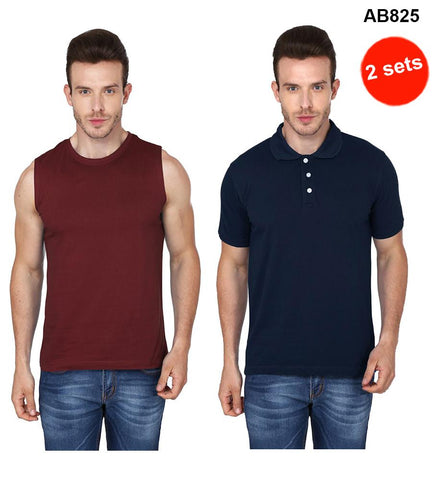 COMBOS-Brown& Navy Blue Color Pure Cotton T-Shirts- 99-FKT-S10010-006 , 99-FKT-S10003-009
