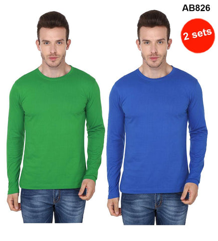 COMBOS-Green & Blue Color Pure Cotton T-Shirts- 99-FKT-S10006-006 , 99-FKT-S10006-007
