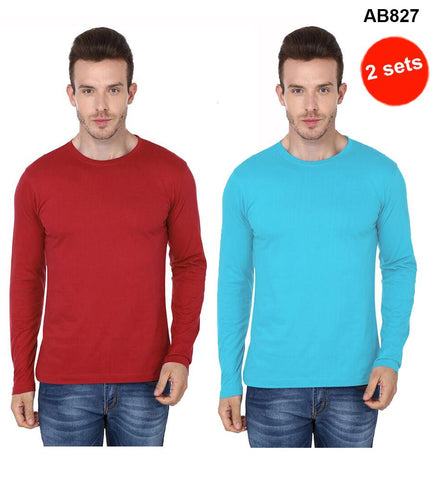 COMBOS-Red & Sky Blue Color Pure Cotton T-Shirts- 99-FKT-S10006-004 , 99-FKT-S10006-009