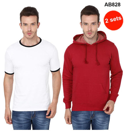 COMBOS-White&Red Color Pure Cotton T-Shirts- 99-FKT-S10011-001 , 99-FKT-S10005-004