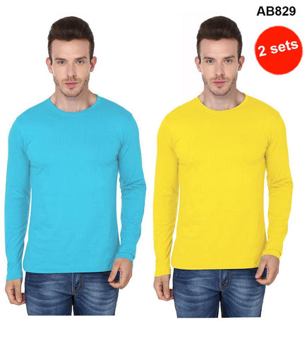 COMBOS-Sky Blue & Yellow Color Pure Cotton T-Shirts- 99-FKT-S10006-009 , 99-FKT-S10006-010