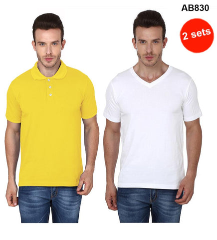 COMBOS-Yellow & White Color Pure Cotton T-Shirts- 99-FKT-S10003-001 , 99-FKT-S10004-003