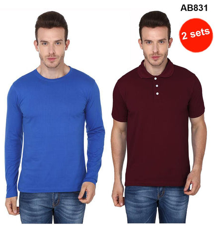 COMBOS-Blue & Brown Color Pure Cotton T-Shirts- 99-FKT-S10006-007 , 99-FKT-S10003-004