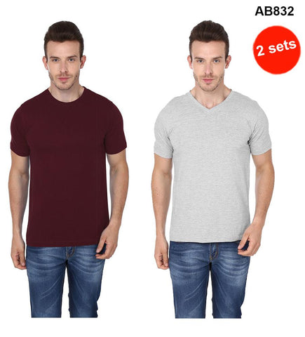 COMBOS-Brown& Grey Color Pure Cotton T-Shirts- 99-FKT-S10001-012 , 99-FKT-S10004-008