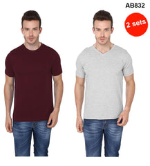 Brown& Grey Color Pure Cotton T-Shirts