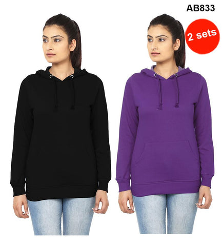 COMBOS-Black&Violet  Color Pure Cotton T-Shirts- 99-FKT-S10009-010 , 99-FKT-S10009-009