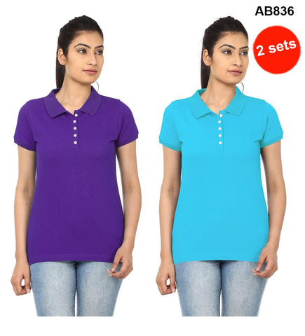 COMBOS-Violet&SkyBlue  Color Pure Cotton T-Shirts- 99-FKT-S10008-012 , 99-FKT-S10008-011