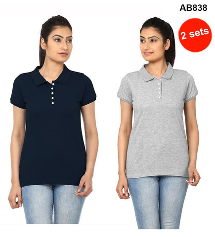 COMBOS-Navy Blue & Grey  Color Pure Cotton T-Shirts- 99-FKT-S10008-003 , 99-FKT-S10008-004