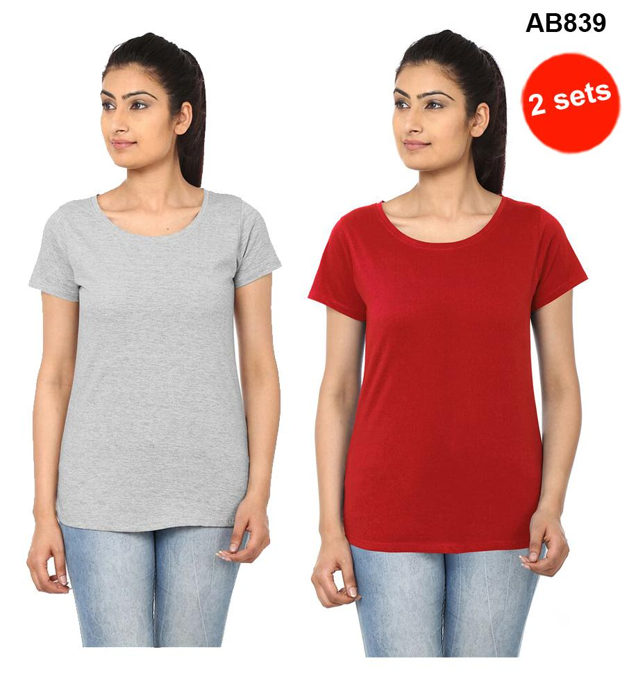 Grey&Red Color Pure Cotton T-Shirts
