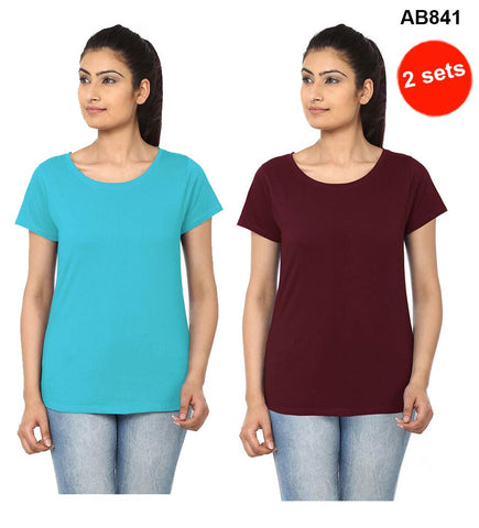 COMBOS-SkyBlue&Brown  Color Pure Cotton T-Shirts- 99-FKT-S10002-010 , 99-FKT-S10002-008
