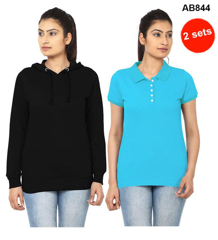 COMBOS-Black&SkyBlue  Color Pure Cotton T-Shirts- 99-FKT-S10009-010 , 99-FKT-S10008-011