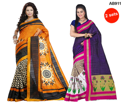 COMBOS-Multi Color Bhagalpuri Silk Sarees - 4071 , 4145