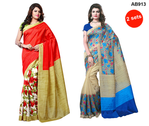 COMBOS-Multi Color Bhagalpuri Silk Sarees - 4580 , 4574