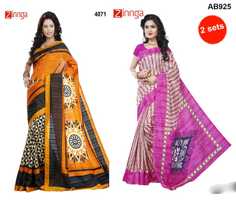 COMBOS-Multi Color Bhagalpuri Silk and Jute Silk Sarees - RR-2013 , 4071