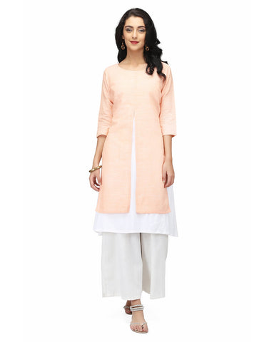 Peach Color Khadi Stitched Kurti - ABI-789