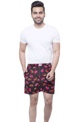 Black and Red Color Cotton Men's Printed Short - ABMSBK0021