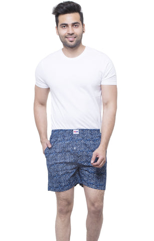 Blue Color Cotton Men's Printed Short - ABMSBL0016