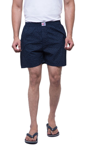 Blue Color Cotton Men's Printed Short - ABMSDB0017
