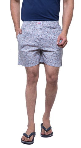 Grey Color Cotton Men's Printed Short - ABMSGY0018