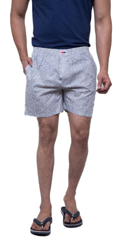 Grey Color Cotton Men's Printed Short - ABMSGY0025