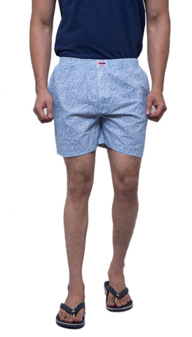 Blue Color Cotton Men's Printed Short - ABMSLB0027