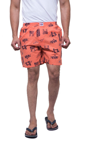 Pink Color Cotton Men's Printed Short - ABMSPH0014