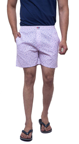 Pink Color Cotton Men's Printed Short - ABMSPK0024