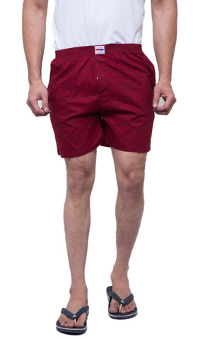 Red Color Cotton Men's Printed Short - ABMSRD0015