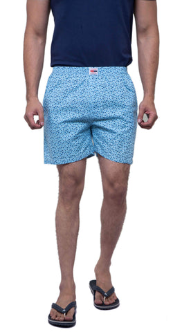 Blue Color Cotton Men's Printed Short - ABMSSB0019