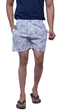 White Color Cotton Men's Printed Short - ABMSWH0020