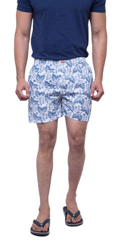 White Color Cotton Men's Printed Short - ABMSWH0022