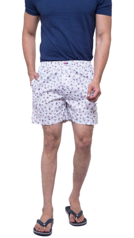White Color Cotton Men's Printed Short - ABMSWH0023