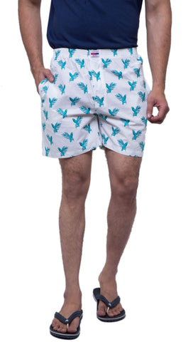 White Color Cotton Men's Printed Short - ABMSWH0026