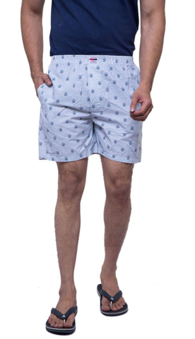 White Color Cotton Men's Printed Short - ABMSWH0028