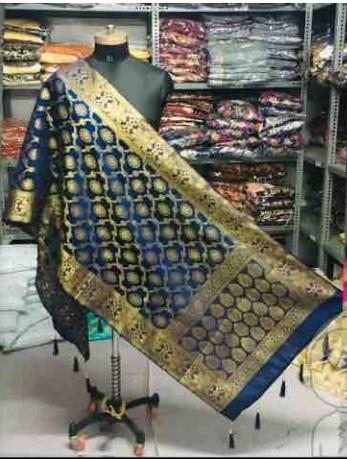 Navy Color Banarasi Silk Women's Dupatta - AC-051119-DUPAT-4