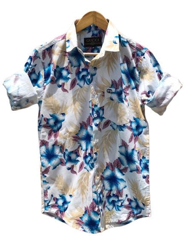 White and Blue Color Cotton Men's Printed Shirt - AC-82