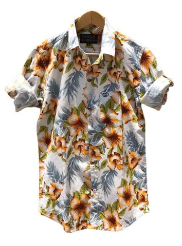 White and Yellow Color Cotton Men's Printed Shirt - AC-83