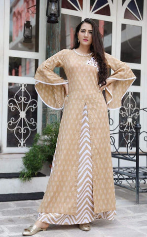 Beige Color Rayon Women's Stitched Kurti with Sharara Set - AC_02